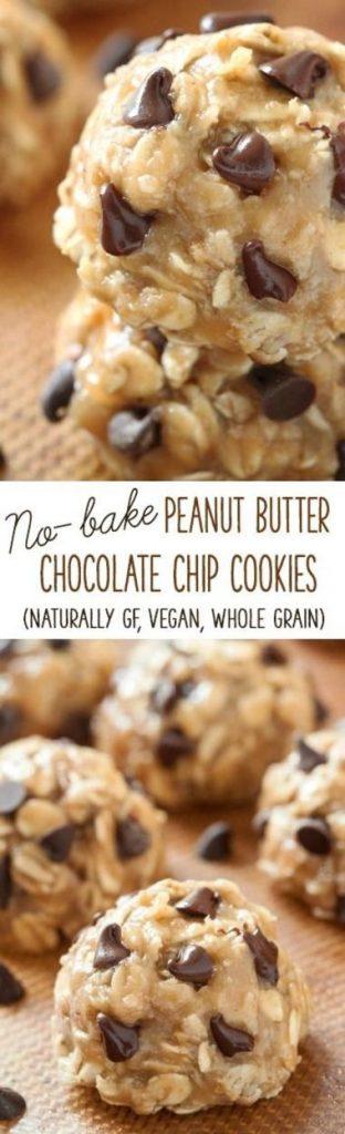 No Bake Cookies Recipes - No-Bake Peanut Butter Chcolate Chip Cookies - Vegan Gluten Free Whole Grain Recipe vai Texanerin Baking