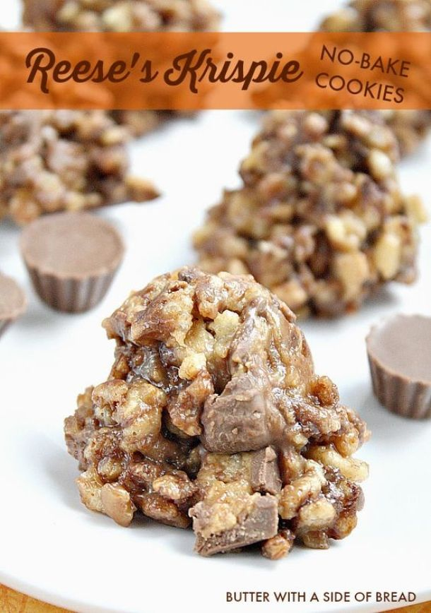No Bake Cookies Recipes - Reeses Krispie No Bake Cookies Recipe via Butter with a Side of Bread