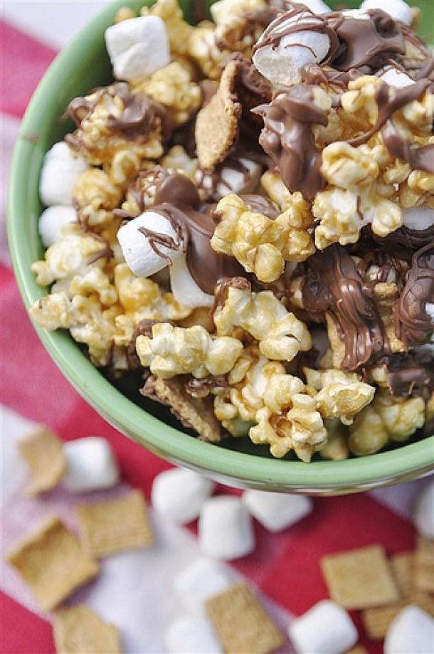 S'Mores Dessert Recipes - SMORES Caramel Popcorn Treat Recipe via Thirty Handmade Days
