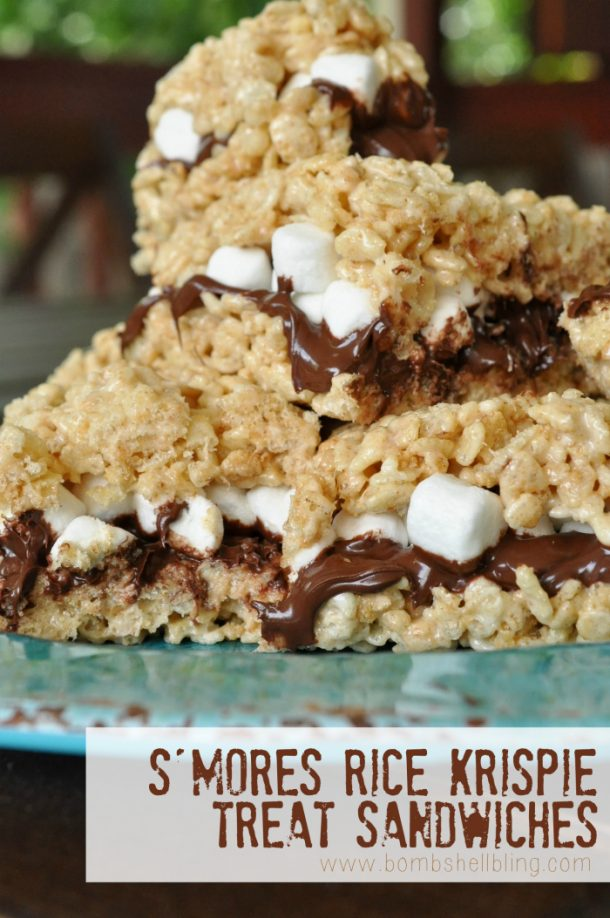 S'Mores Dessert Recipes - Smores-Rice-Krispie-Treat-Sandwiches-Recipe via Capturing Joy with Kristen Duke