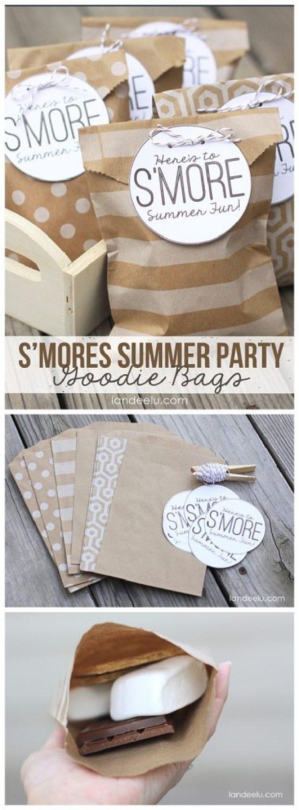 S'Mores Dessert Treats Recipes - SMORES Summer Party Goodie Bags Tutorial and FREE Printables via Landeelu