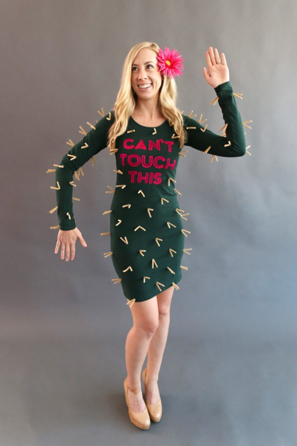 DIY Halloween Costumes Ideas - Flowering Cactus Cant Touch This Clothespins and Acrylic Paint Handmade Costume idea via evite