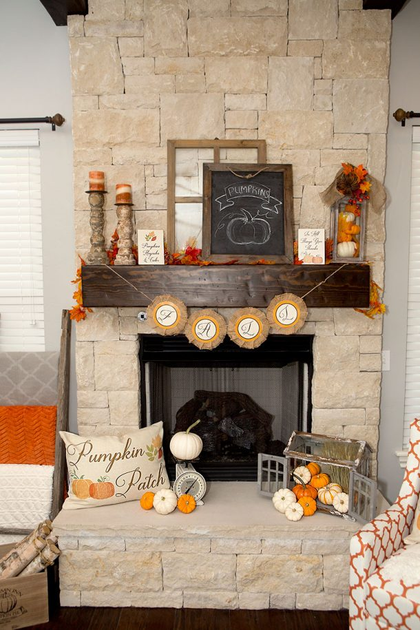 DIY Rustic Farmhouse Style Fall Mantel Inspiration Do it Yourself Home Decor Ideas for Autumn plus FREE Printables via Lillian Hope Designs