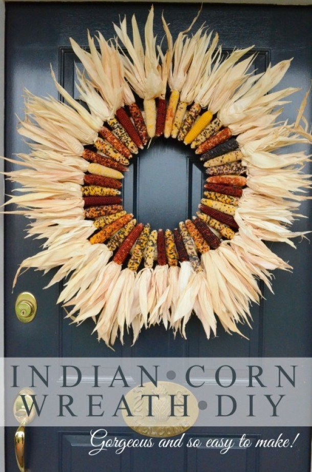DIY projects ideas - Autumn Wreath Craft Projects - Indian Corn Fall Wreath DIY via Stone Gable Blog
