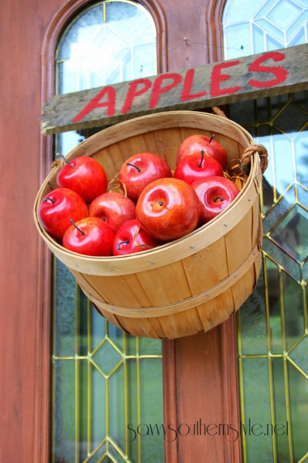 DIY projects ideas - Fall Wreaths - Hang a Bushel Basket of Apples on the Door idea via Savvy Southern Style