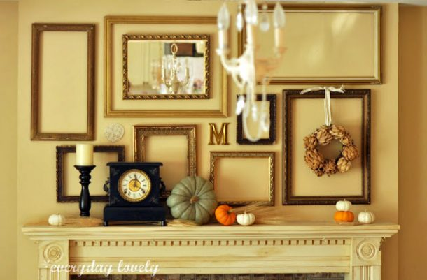 Diy fall mantel decor ideas to inspire landeelu do it yourself empty frames and mirror simple and classy fall mantel inspiration home decor ideas solutioingenieria Image collections