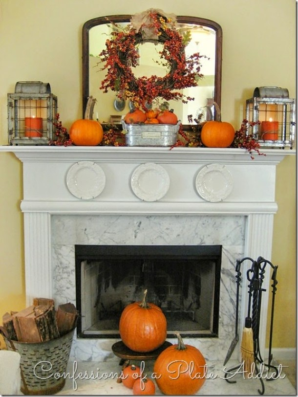 Do it Yourself Farmhouse Style with Galvanized Steel Elements Fall Mantel Inspiration Home Decor Ideas for Autumn via Confessions of a Plate Addict