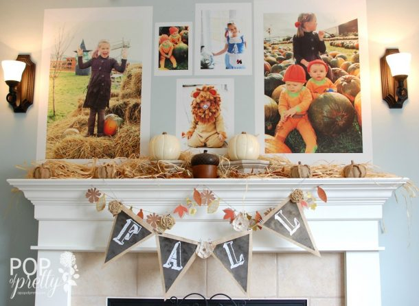 Do it Yourself Giant Family Photos Fall Mantel Inspiration Home Decor Ideas for Autumn via A Pop of Pretty