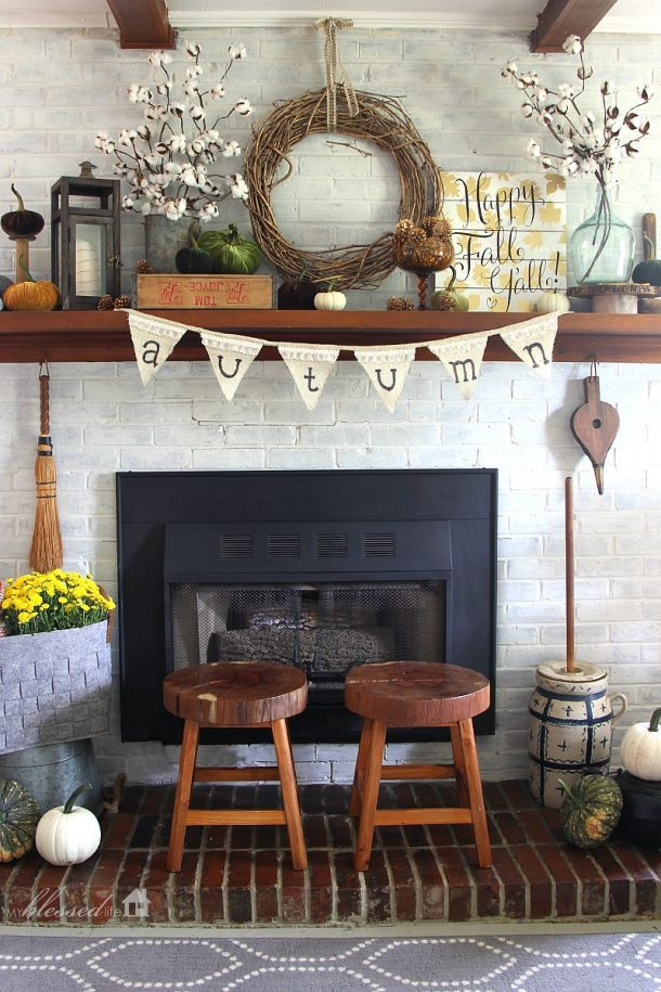 Do it Yourself Layered Cotton Stems and Fabric Textures Fall Mantel Inspiration Home Decor Ideas for Autumn via My Blessed Life