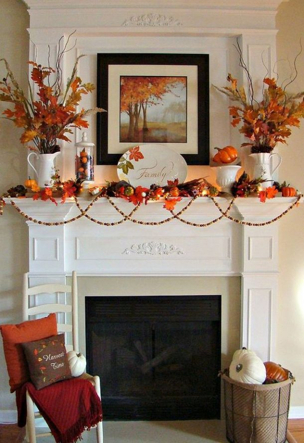 Do it Yourself Vibrant Orange and Traditional Fall Mantel Inspiration Home Decor Ideas for Autumn via hometalk