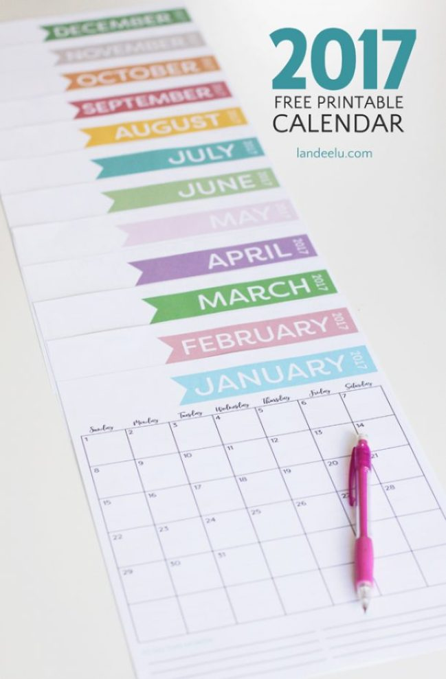 Download this ink-friendly and cute free printable calendar and get organized in 2017!