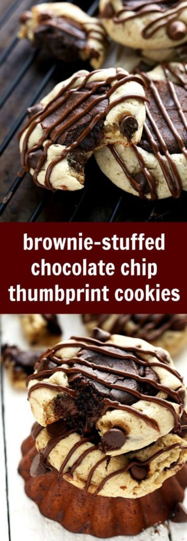 Brownie-Stuffed Chocolate Chip Thumbprint Cookies Recipe | Chelsea's Messy Apron