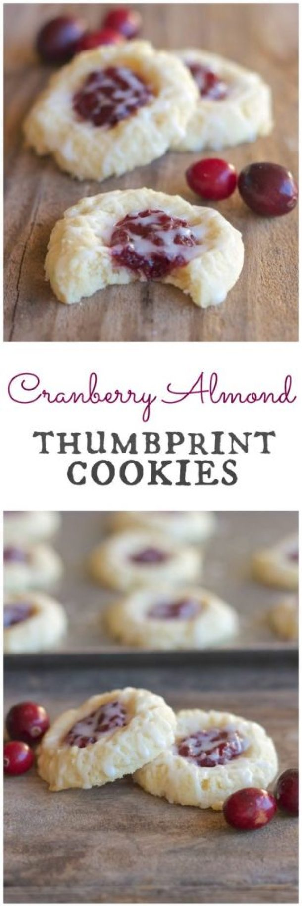 Cranberry Thumbprint Cookies With Almond Glaze Recipe | Lovely Little Kitchen