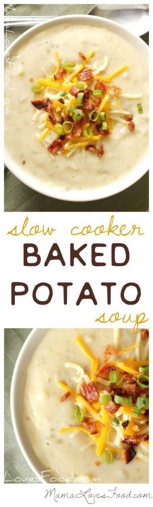 Slow Cooker Baked Potato Soup Recipe | Mama Loves Food