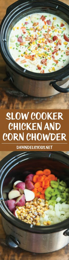 Slow Cooker Chicken and Corn Chowder Recipe | Damn Delicious