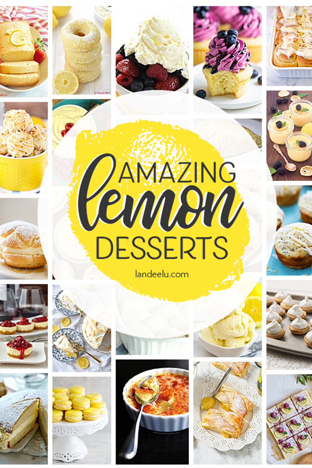 These lemon desserts look so yummy! Can't wait to try the lemon cheesecake! #lemondesserts #lemon #lemonbars #lemoncake