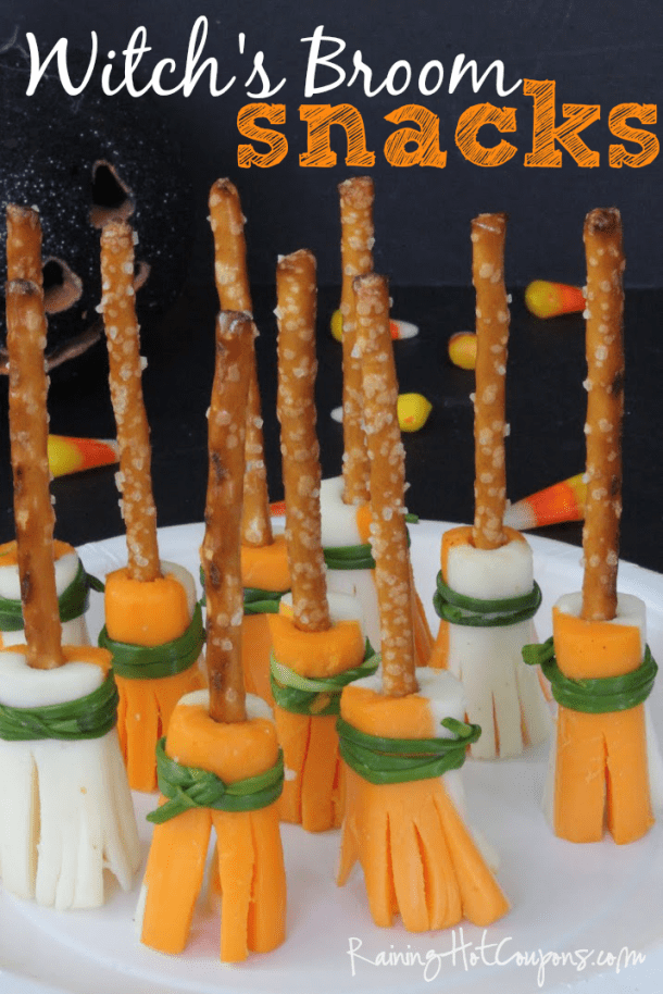 Non-Candy Halloween Snacks and Treats Ideas and Recipes - String Cheese and Pretzel Stick Witchs Brooms via Raining Hot Coupons