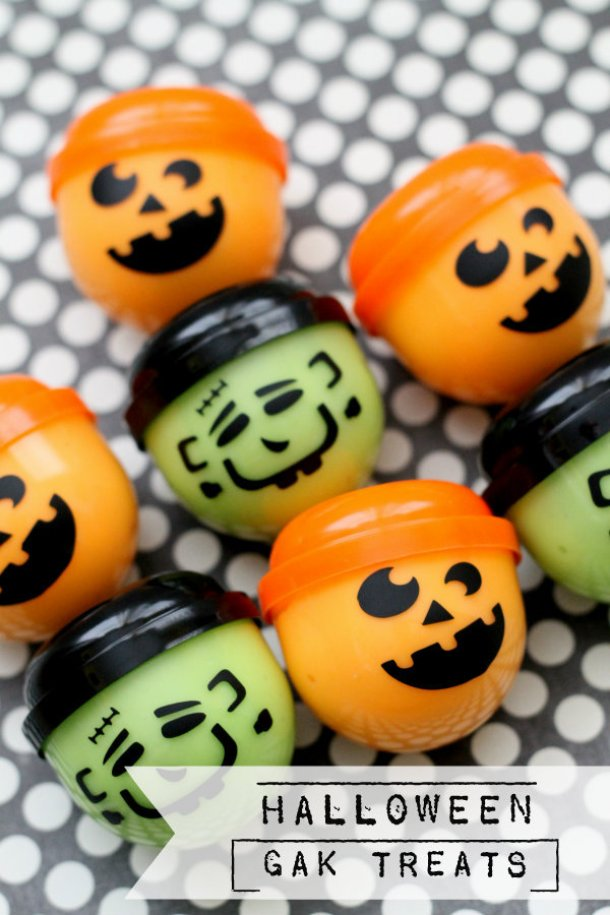 Non-Candy Halloween Treats and Favors Ideas and Recipes - Halloween Gak Treats via lil luna