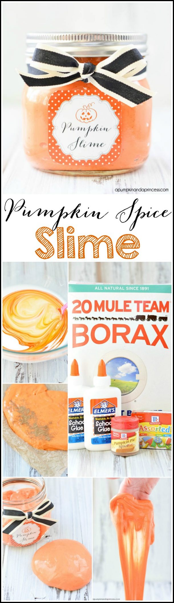 Non-Candy Halloween Treats and Favors Ideas and Recipes - Pumpkin Spice Slime via A Pumpkin and A Princess