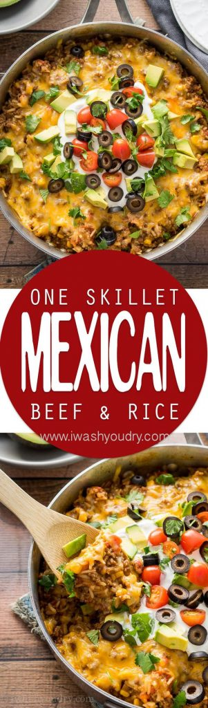 Quick Dinner Ideas - One Skillet Mexican Beef and Rice Skillet Recipe via I Wash You Dry