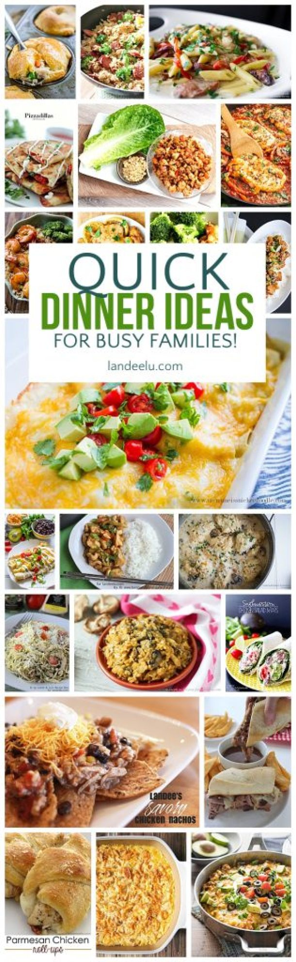 A TON of awesome quick dinner ideas for busy families. I can't wait to try these on my family!