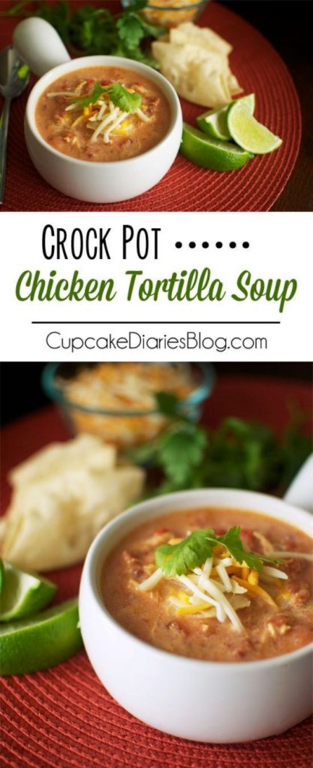Crock Pot Chicken Tortilla Soup Recipe | Cupcake Diaries