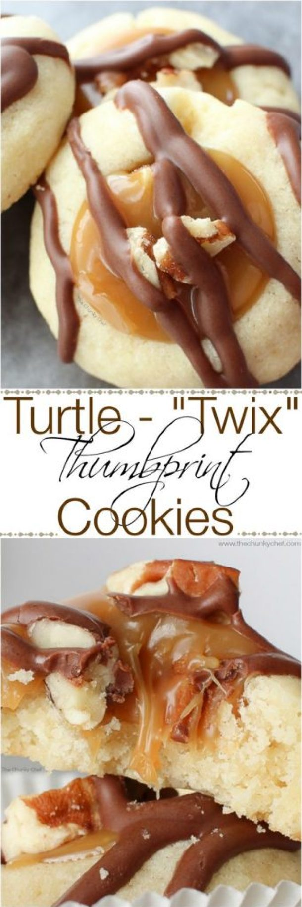 Turtle-Twix Thumbprint Cookies Recipe | The Chunky Chef