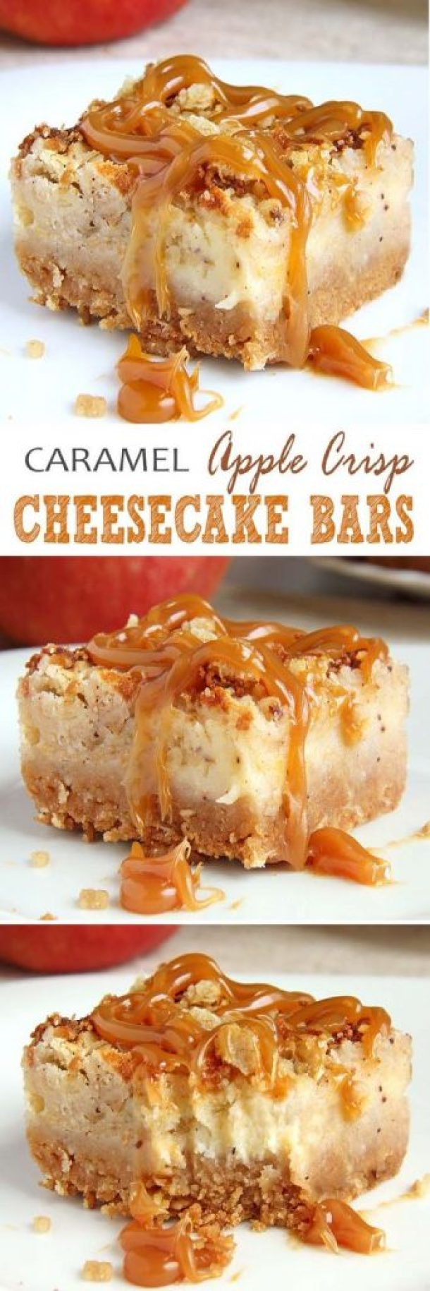 Caramel Apple Crisp Cheesecake Bars Recipe | Sugar Apron - Apple Recipes