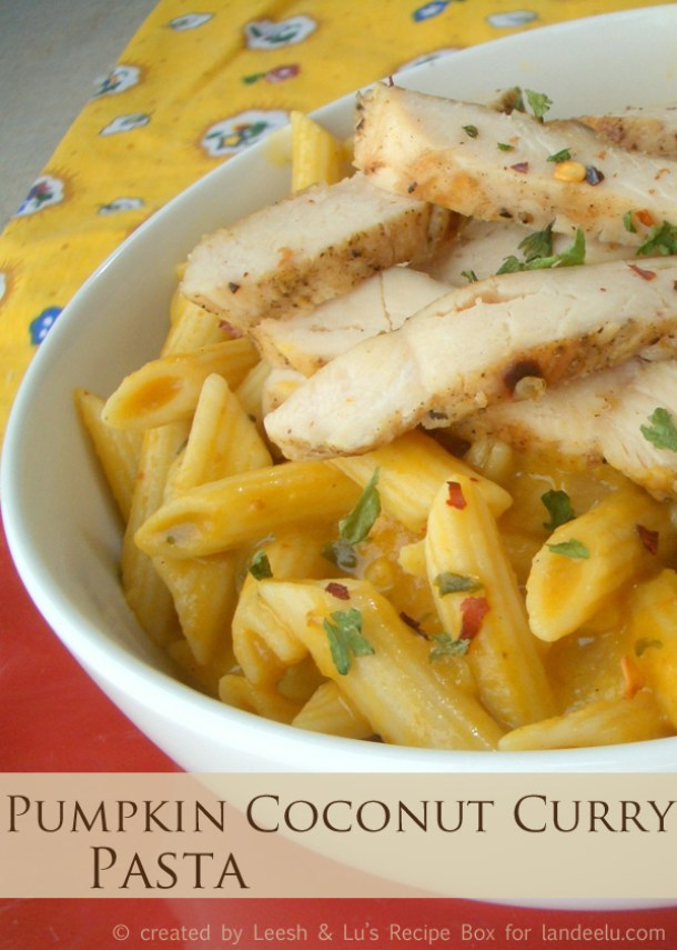 Creamy Pumpkin Coconut Curry Pasta {With or Without Chicken} Recipe | Landeelu