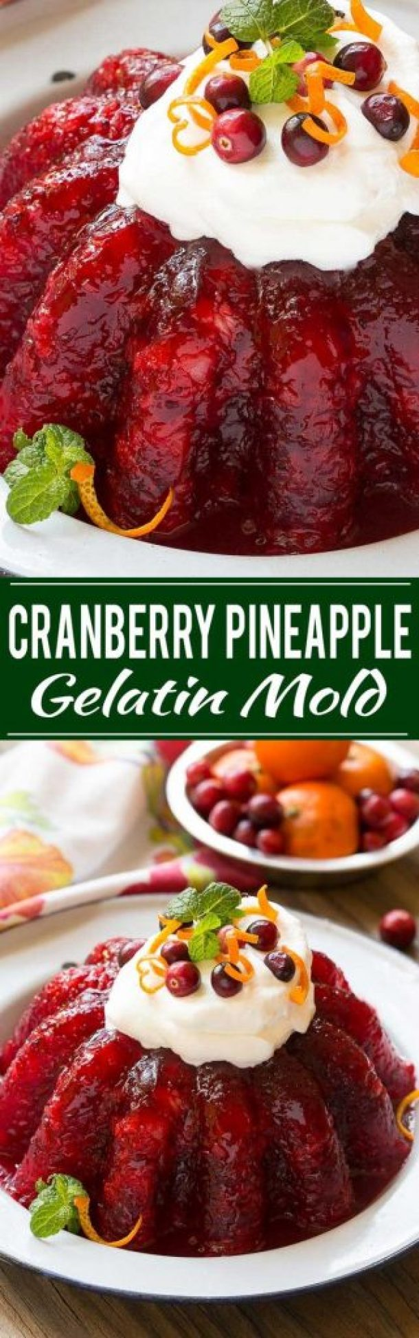 Raspberry, Cranberry, Pineapple and Orange Holiday Jello Mold Recipe | Dinner at the Zoo