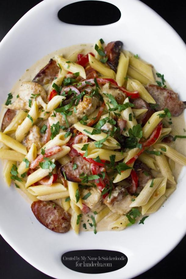 Rustic Chicken Pasta with Bacon and Sausage Recipe | Landeelu
