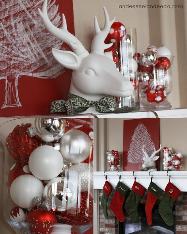 Clean and Simple Christmas Mantel with DIY Chalkboard Tree Art | Landeelu - Christmas and Winter Mantel Displays and Decorations Ideas