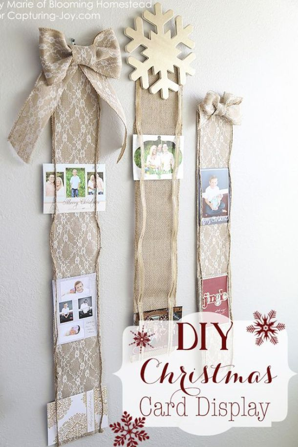 Create a pretty and easy display using burlap, lace and twine! DIY Christmas Card Display Tutorial | Capturing Joy with Kristen Duke