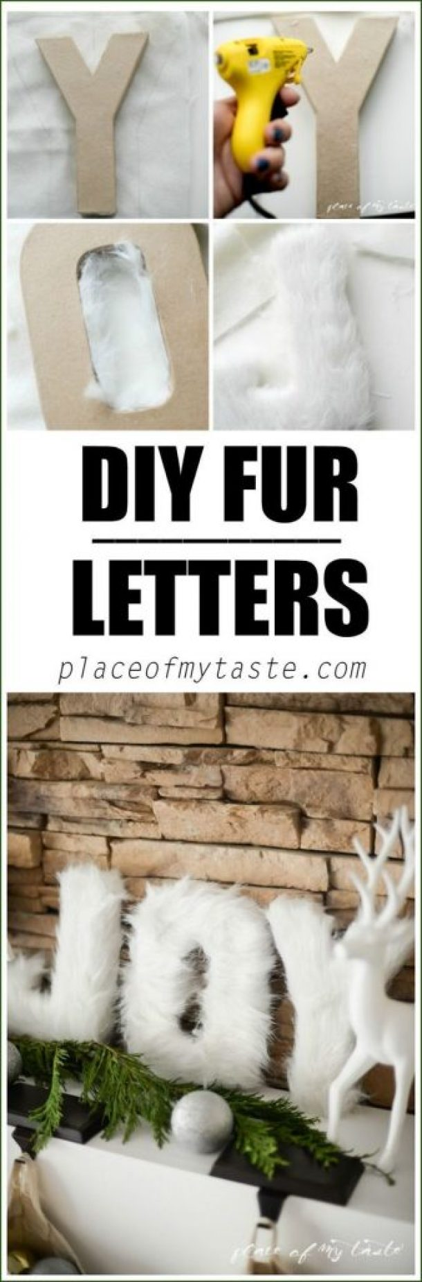 DIY Fur Letters Christmas Mantel Decorations Tutorial   Place of My Taste
