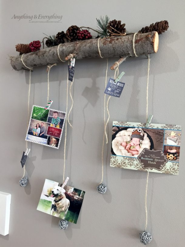 DIY Rustic Log Holiday Card Display Tutorial | Anything & Everything