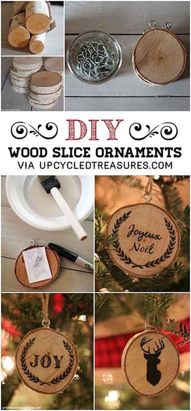 DIY Wood Slice Christmas Ornaments Tutorial | Mountain Modern Life - Easy and Cheap DIY Christmas Tree Ornaments