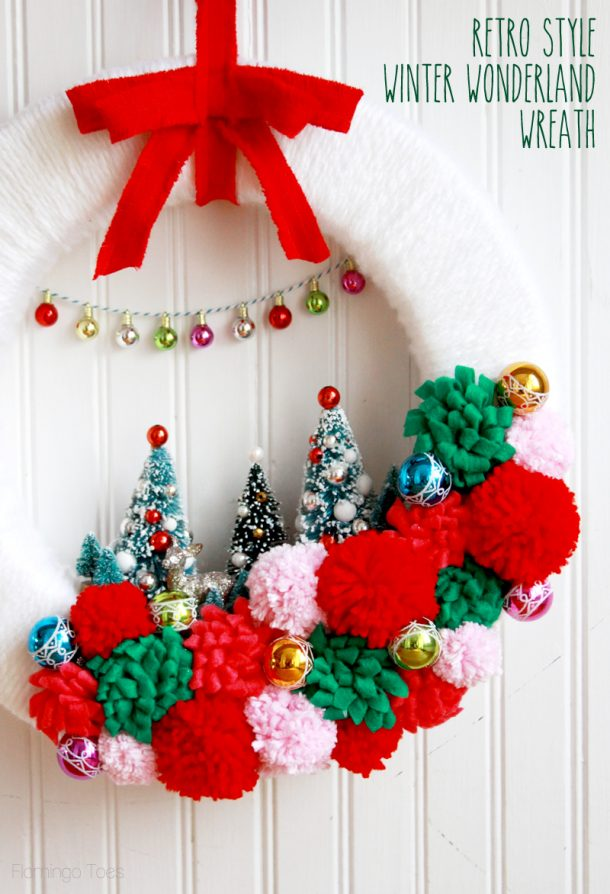Darling Retro Style Winter Wonderland DIY Christmas Wreath | Flamingo Toes