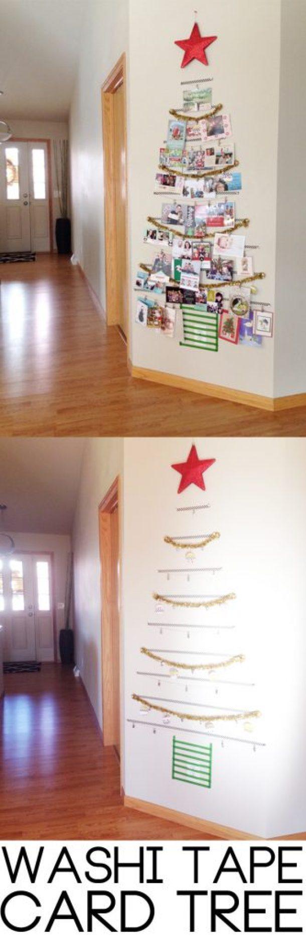 Easy DIY Washi Tape Christmas Card Tree Display | Thyme is Honey