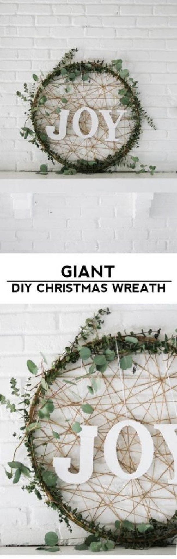 Grab a cheap hula hoop and make this Giant DIY Christmas Wreath | Homemade Ginger