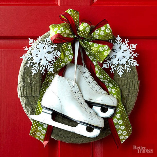 Create a super cute Christmas Wreath using some old Ice Skates and a cheap Sweater! | BHG