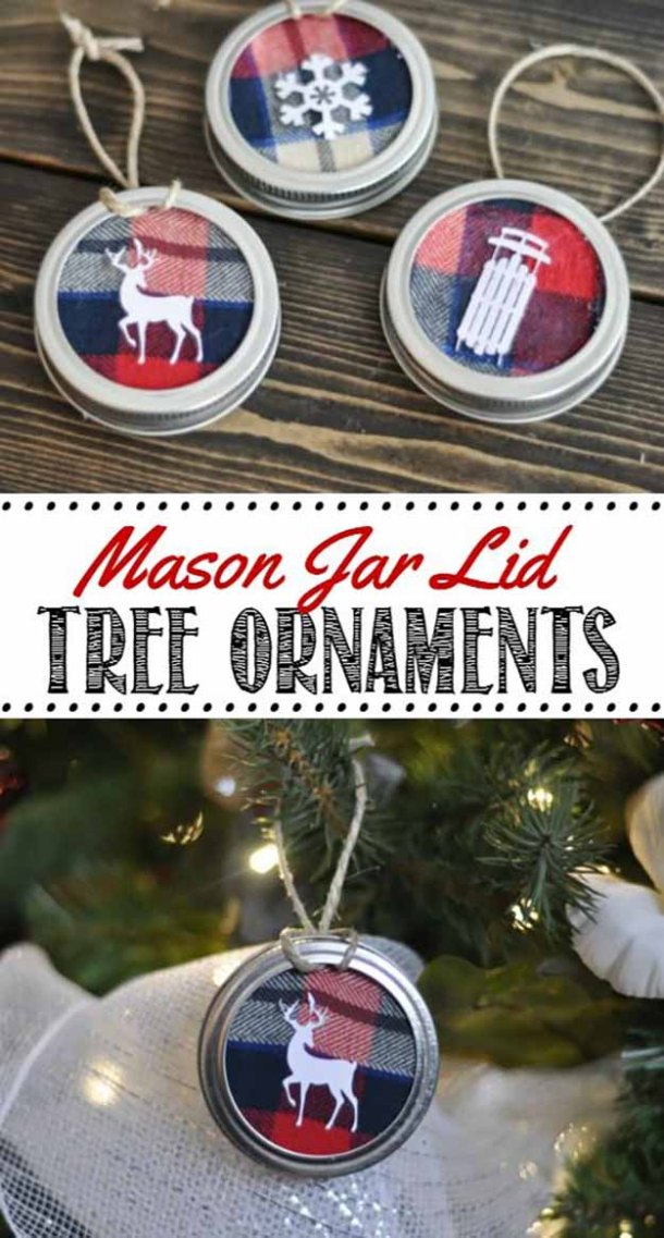 Mason Jar Lid Christmas Tree Ornaments Tutorial | Clean and Scentsible - Easy and Cheap DIY Christmas Tree Ornaments
