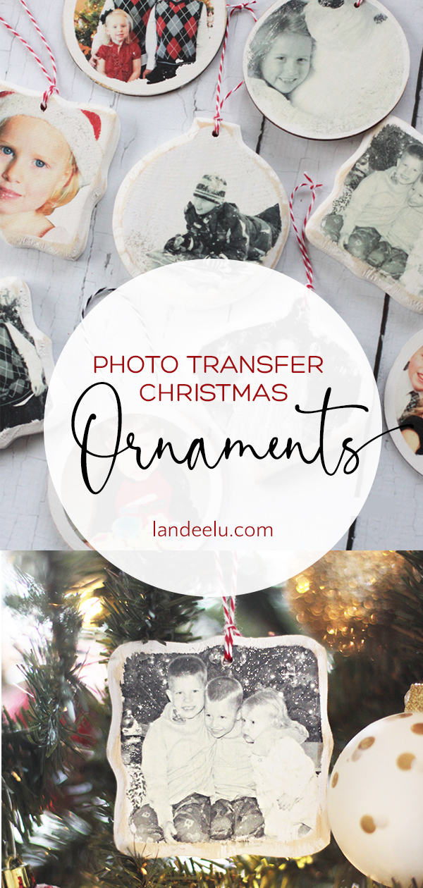 Photo Transfer Christmas Ornaments | landeelu.com Love this idea to display holiday memories on the Christmas tree! #diychristmasornament #ornament #christmasornament #christmascraft