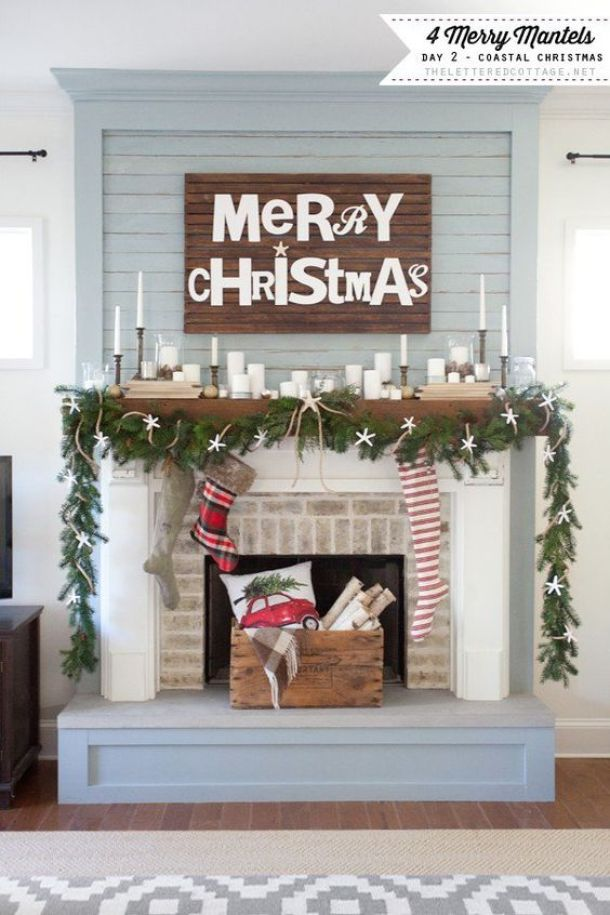 Pretty Coastal Christmas Mantel | The Lettered Cottage - Christmas and Winter Mantel Displays and Decorations Ideas