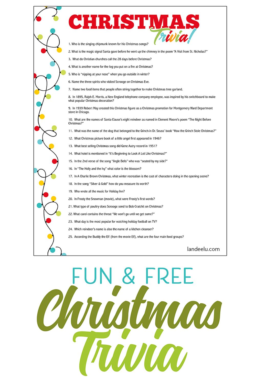 Christmas Trivia Game Perfect For Christmas Parties Printable Fun Trivia