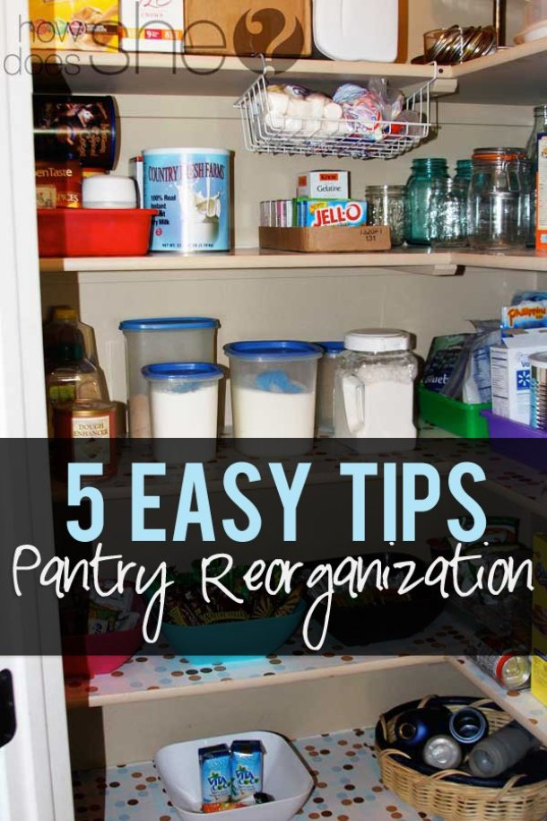 5 Easy Tips for Pantry Reorganization {love the hanging baskets idea for little crushable items and paper plates!} | How Does She