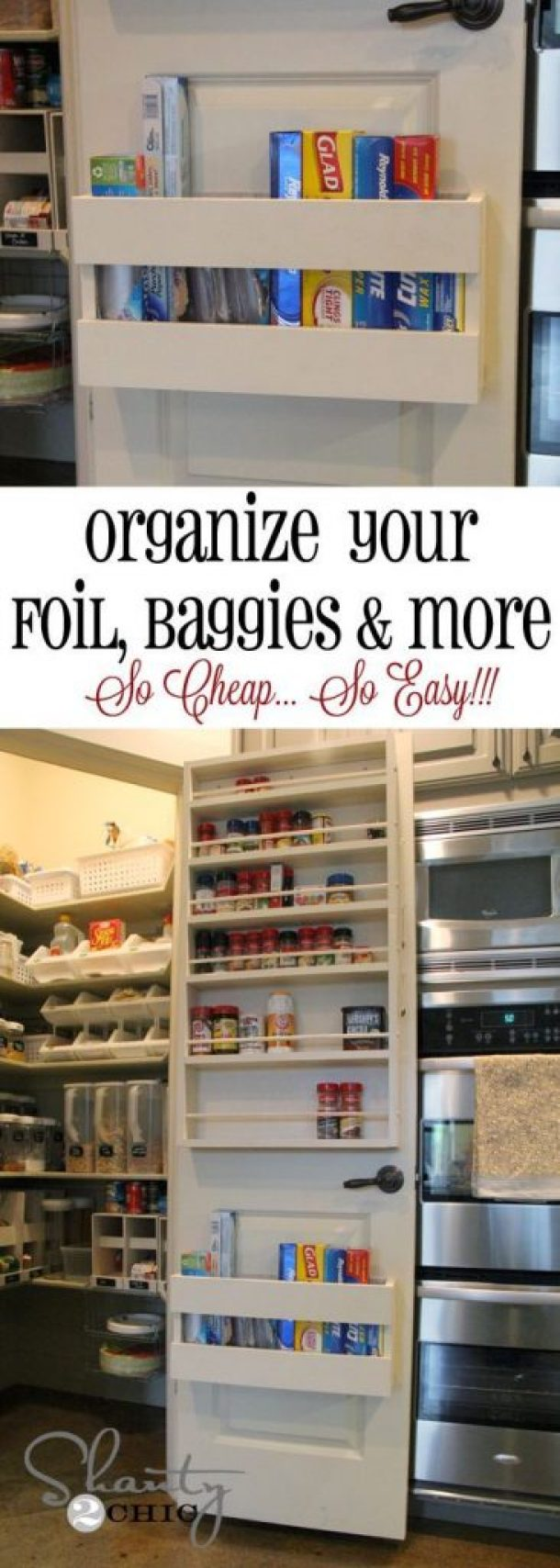 This foil, wax paper and plastic baggies DIY storage rack took her about 10 minutes to build and cost under $10 | Shanty2Chic