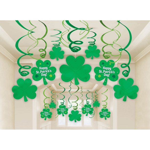 Amscan Lucky Irish Green St. Patrick's Day Foil Swirl Party Decoration Mega Value Kit
