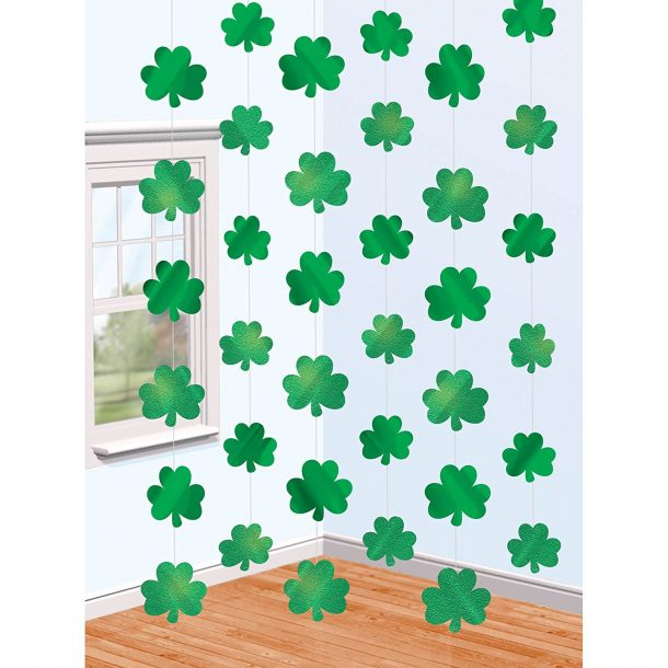 Amscan Lucky Irish Green St. Patrick's Day Shamrock Foil String Party Decoration (Pack of 6), Multicolor, 7