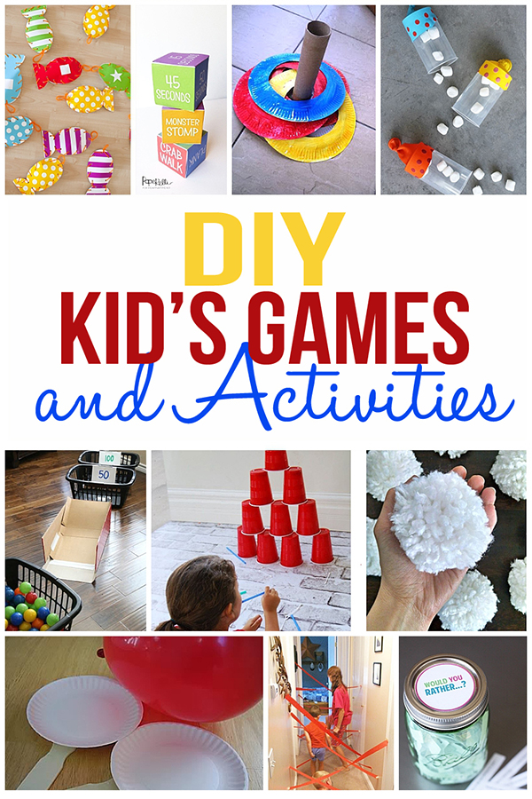 So many fun kids games and activities for you to create and play with your kids! #kidsgames #kidsactivites #diykidsgames #kidcrafts #kidgames