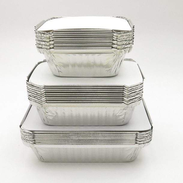 Disposable Meal Prep/Take out/Food Saver Pans. 1 pound, 1-1/2 pound & 2-1/4 pound size- 10 of each with choice of lids